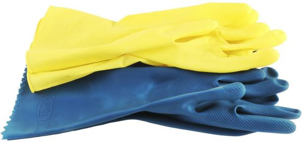 India Fire Tech Blue And Yellow Rubber Safety Hand Care Protective Protection Chemical Restitance Safe Touch For Hand Safety love For Men Women Boys Girls Kids All Occutation And Every Functions Suitable Rubber  Safety Gloves