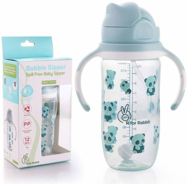R for Rabbit Bubble Baby Sipper Bottle 300 ml|10 fl oz|Anti Spill Sippy Cup with Soft Silicone Straw