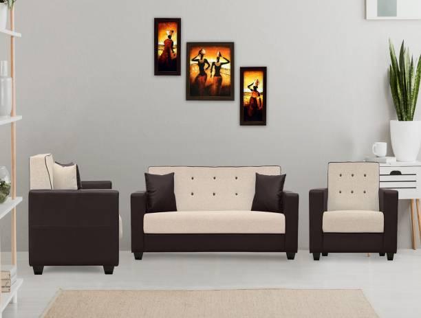 Flipkart Perfect Homes Vegas Fabric 3 + 1 + 1 Beige Sofa Set