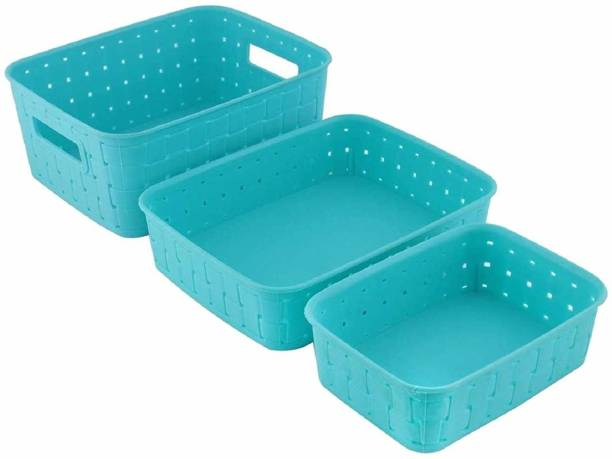 BONIRY New Multipurpose smart Basket set of 3 Blue Plastic Fruit & Vegetable Basket