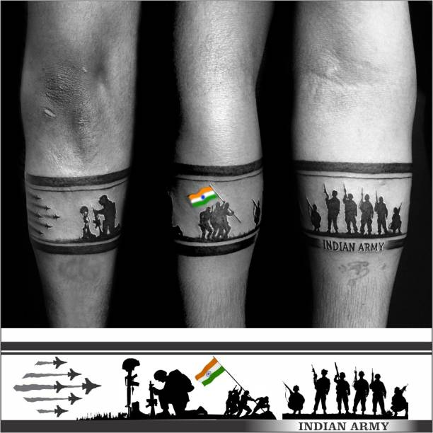 voorkoms Indian Army Hand Band Temporary Tattoo