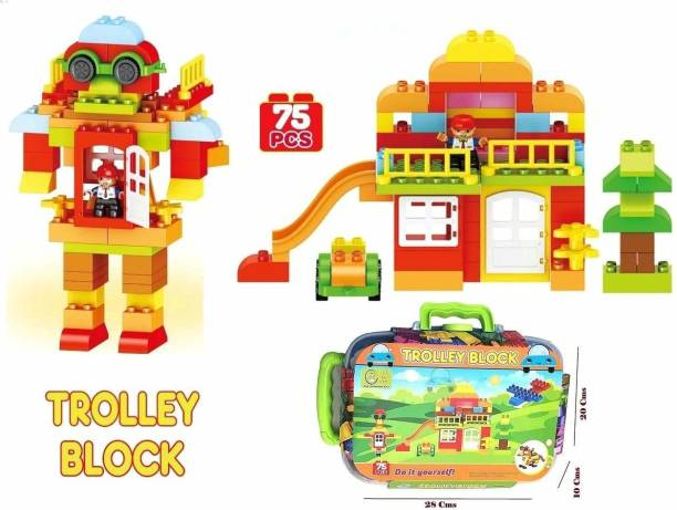 Smartcraft Building Block for Kids – 75 Pcs Blocks with Trolley Case, Block Game for Kids, Trolley Blocks
