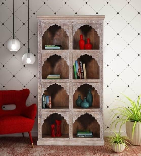 Saffron Solid Mango Wood Book Shelf in Distress Finish Solid Wood Open Book Shelf