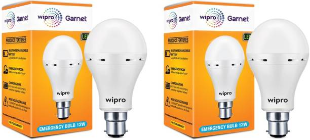 WIPRO 12 W Standard B22 Inverter Bulb (White) - Pack of 2 Bulb Emergency Light