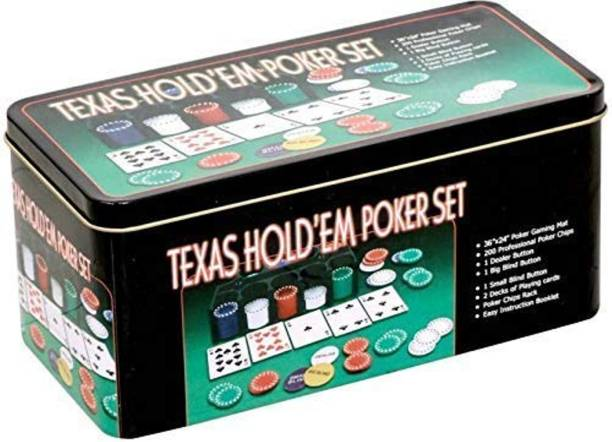 Myric Texas Holdem Poker Game Set - Includes Hold'em Mat, 2 Card Decks, Chips, Chip Holder and Tin Storage Box - Fun Game Night Supplies - Cool Casino Gift for Kids and Adults