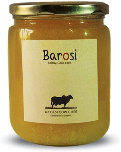 barosi A2 Desi Cow Ghee, Produced from A2 Desi Cow Milk, Natural and Pure, Premium Glass Packaging Ghee 500 ml Glass Bottle
