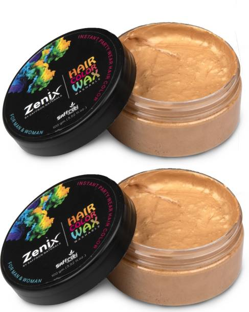 zenix Temporary Color Hair Wax for Strong Hold and Instant Hair Coloring with Added Nourishment |Golden|Pack of 2 Hair Wax
