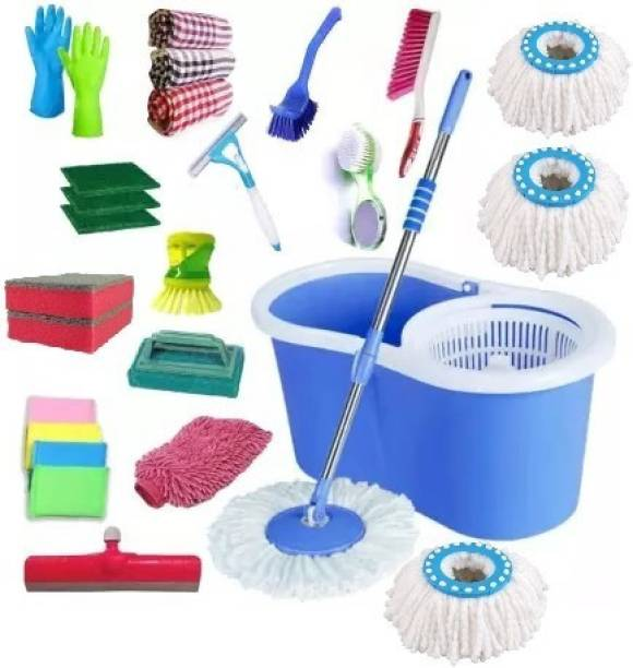 SHIVONIC SVC Advance PVC Bucket Mop Set for House hold using cleaning bucket mop set Combo Pack of house cleaning item pack of 14 ITEM COMBO PACK Mop, Cleaning Wipe, Mop Set, Mop Refill, Bucket, Cleaning Cloth