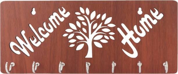 Sehaz Artworks Welcome_Home-Brown Wood Key Holder
