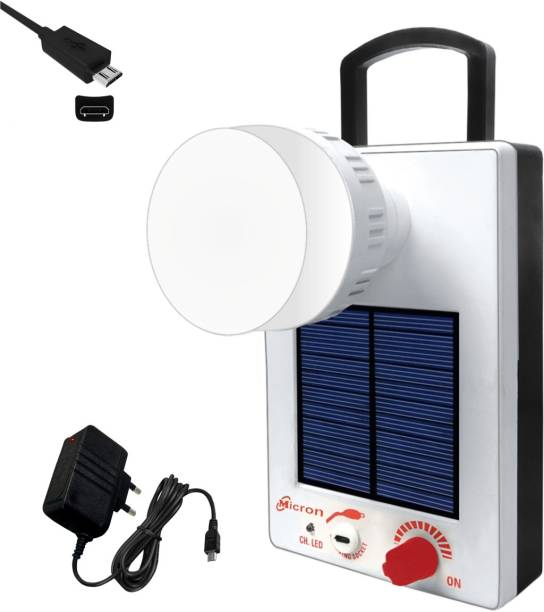 Micron 12 Hi-Bright LED Lantern With 1st Step Night Lamp Rechargeable Solar White Plastic Table Lantern