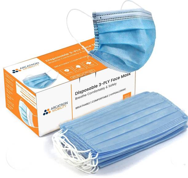 Arcatron Mobility 3-Ply Surgical Face Mask with Meltblown Protective layer ASTM F 2101 tested 99% BFE,SITRA CE ISO Certified Surgical Mask With Melt Blown Fabric Layer