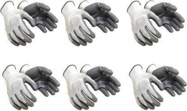 SS&WW Anti Cut Hand Gloves pvc cotted 6 pair Nylon Safety Gloves (6) Nylon, Synthetic, Nitrile  Safety Gloves