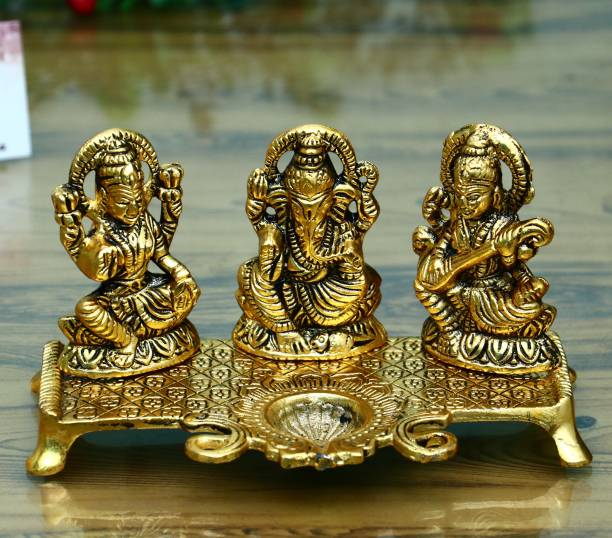 Chhariya Crafts Laxmi Ganesh Saraswati With Diya Decorative Showpiece  -  19 cm