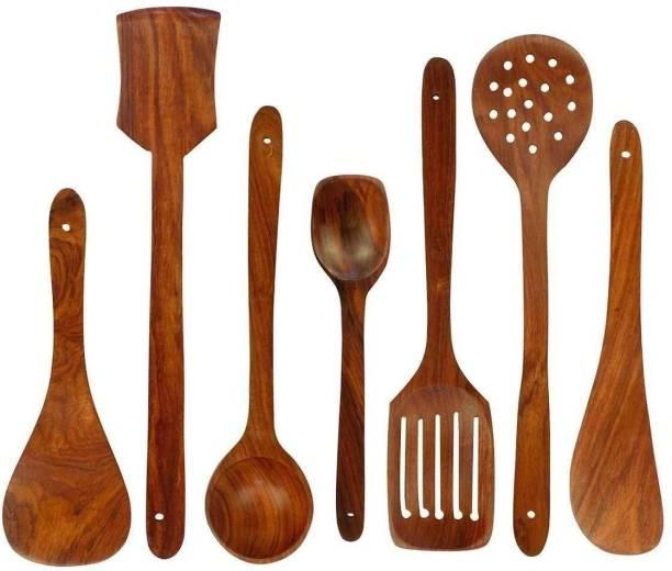 A S Handicrafts Wooden Spoon Set Wooden Serving Spoon, Table Spoon Set