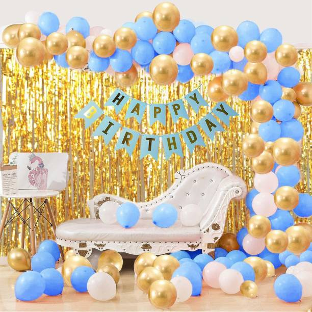 DECOR MY PARTY HAPPY BIRTHDAY Printed Blue Banner Combo With Metallic Balloons & Decorative Curtains For Boys Birthday Party Decorations