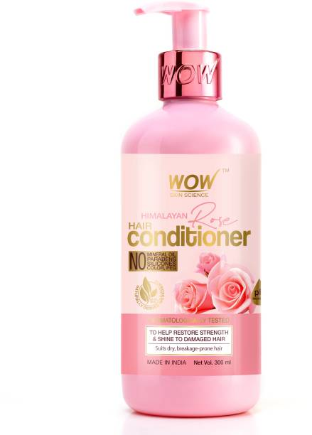 WOW SKIN SCIENCE Himalayan Rose Conditioner with Rose Hydrosol, Coconut Oil, Almond Oil & Argan Oil - For Volumnising Hair, Anti Smelly Scalp - No Parabens, Mineral Oil, Silicones, Color & PEG - 300mL