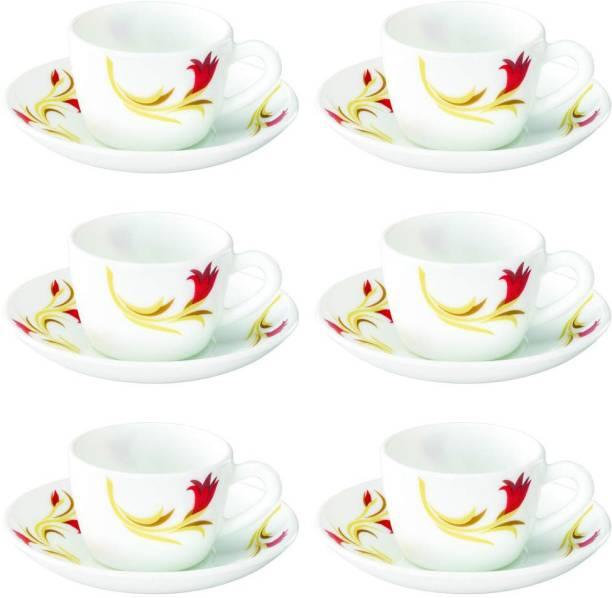 BOROSIL Opalware Present arah RED IY 6 pcs cup saucer Set {Cup 140ml (6 pcs)    Saucer 135mm (6 pcs)}