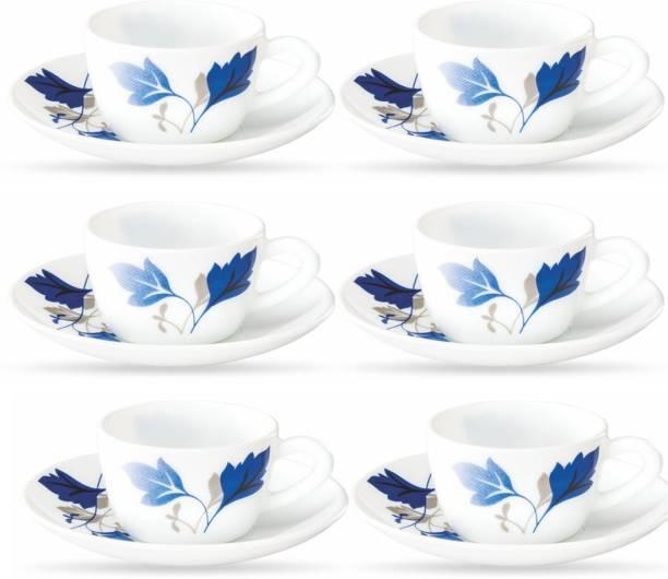 BOROSIL Opalware Present AGERIA 6 pcs cup saucer Set {Cup 140ml (6 pcs)    Saucer 135mm (6 pcs)}