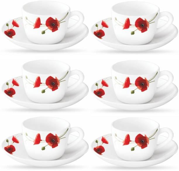 BOROSIL Opalware Present arah RED CARNATION 6 pcs cup saucer Set {Cup 140ml (6 pcs)    Saucer 135mm (6 pcs)}