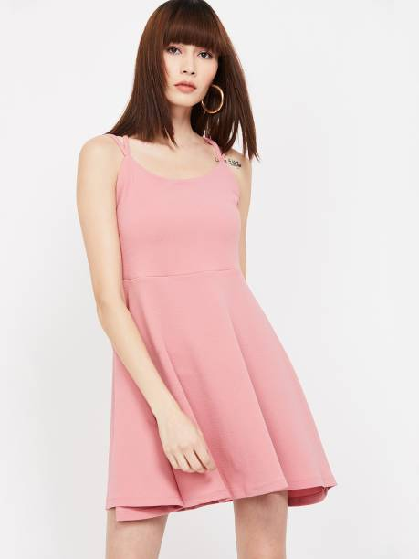 GINGER Women Cinched Waist Pink Dress