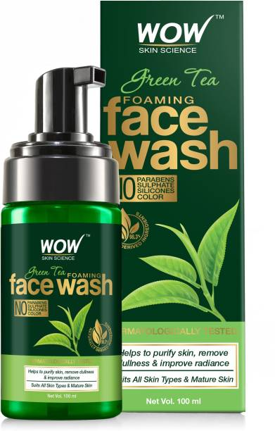 WOW SKIN SCIENCE Green Tea Foaming  - With Green Tea & Aloe Vera Extract - For Purifying Skin, Improving Radiance - No Parabens, Sulphate, Silicones & Color - 100 ml Face Wash