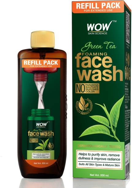 WOW SKIN SCIENCE Green Tea Foaming  Refill Pack - With Green Tea & Aloe Vera Extract - For Purifying Skin- For Extended Use - No Parabens, Sulphate, Silicones & Color - 200 ml Face Wash