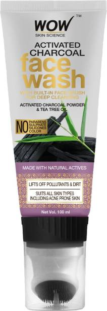 WOW SKIN SCIENCE Activated Charcoal  GEL with Built-In Face Brush for Removing Impurities - No Parabens, Sulphate, Silicones & Color, 100 ml Tube Face Wash