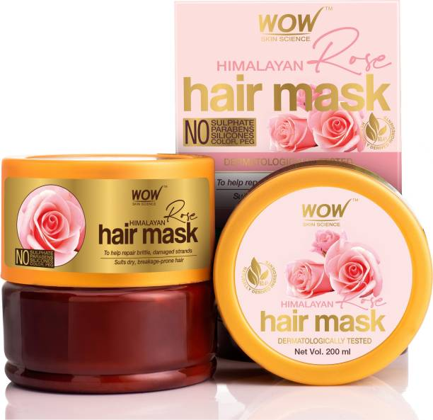 WOW SKIN SCIENCE Himalayan Rose Hair Mask with Rose Hydrosol, Coconut Oil, Almond Oil & Argan Oil - For Volumnising Hair, Anti Smelly Scalp - No Parabens, Sulphate, Silicones, Color & PEG - 200mL