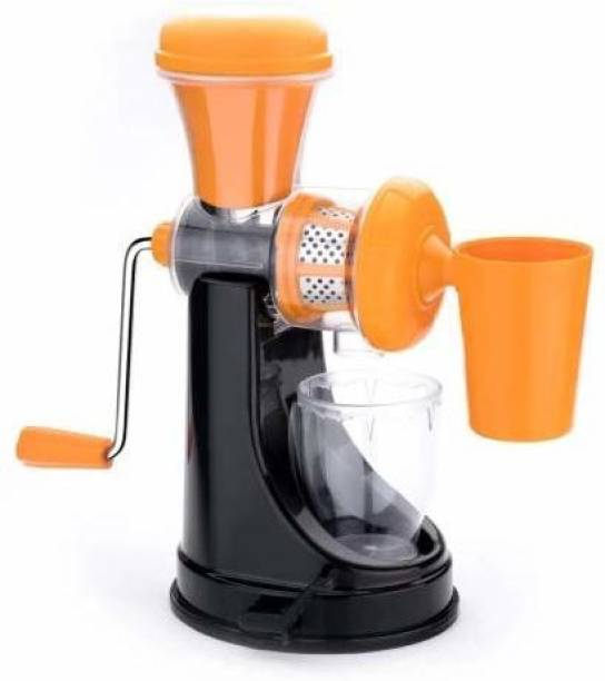 Try Me Plastic Hand Juicer Vegetable and Fruit Juicer Hand Juicer with Steel Handle Vacuum Locking System, Juice Maker Machine for Home Kitchen Travel (Orange Black)