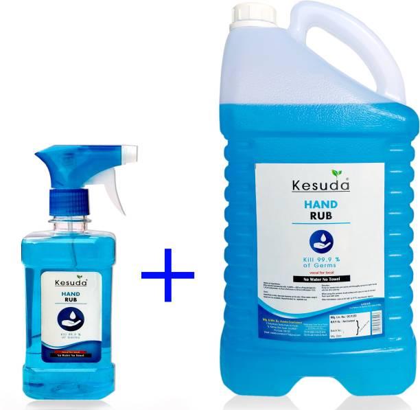 KESUDA 500ml LIQUID trigger sanitizer spray and 5Liter LIQUID hand sanitizer (500ml+5L) Sanitizer Spray Pump + Refill