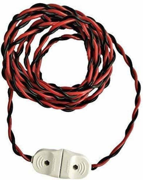 Hopedwell 2 Pin Polycarbonate Male to Female Expandable AC Electric Wire Extension with Flexible Copper Cable )-(5 Meter) Plastic Light Socket