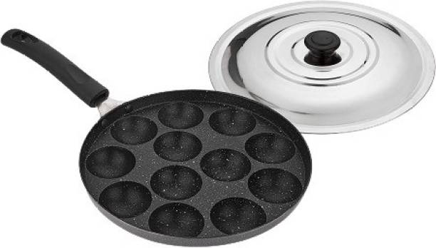 ATTRO Non-Stick 12 Cavity Appam Patra Paniyarakkal One Side Handle with Steel lid & Wooden Picker (Marble Grey) Paniarakkal with Lid