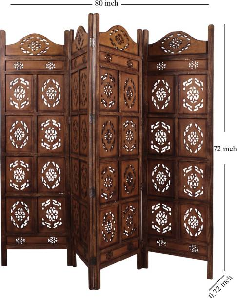 Decorhand Handcrafted 4 Panel Wooden Room Partition & Room Divider ( Brown) Solid Wood Decorative Screen Partition
