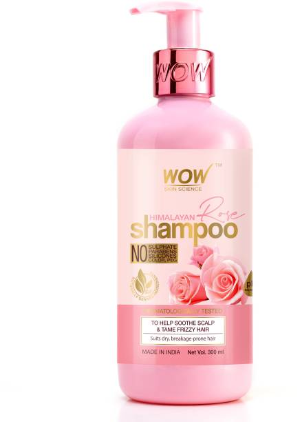 WOW SKIN SCIENCE Himalayan Rose Shampoo with Rose Hydrosol, Coconut Oil, Almond Oil & Argan Oil - For Volumnising Hair, Anti Smelly Scalp - No Parabens, Sulphate, Silicones, Color & PEG - 300mL