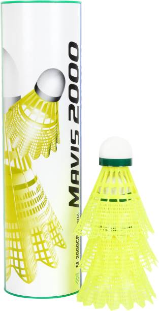 Yonex Mavis 2000 Green Cap Nylon Shuttlecock, Pack of 6 Nylon Shuttle   Yellow