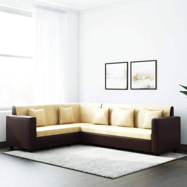 FURNY Funliving Corner Fabric L shape Sofa Set (Cream-Brown) Fabric 6 Seater  Sofa
