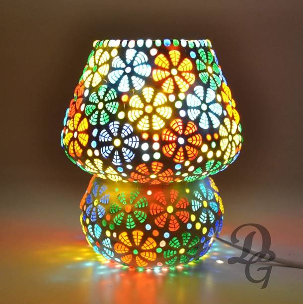 DESHILP OVERSEAS Glass Mosaic lamp for Home Decor Bed Side Lamp Exclusive Make in India Mushroom Shaped Glass Leafs Design Table lamp with Multicolour Mosaic Handwork Table lamp Table Lamp