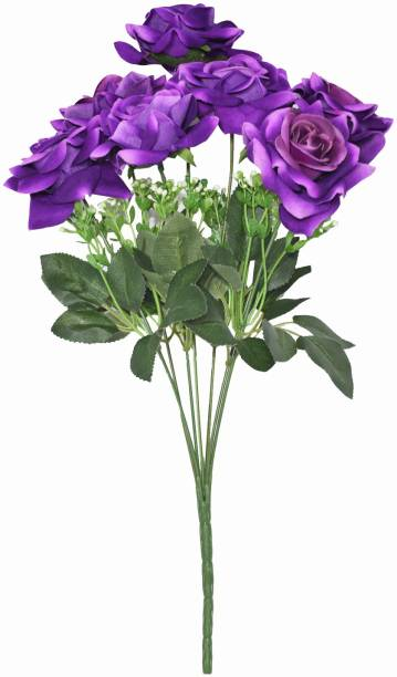 FOURWALLS Beautiful Artificial Rose Flower Bunch with Elegant Bloom for Home décor (7 Heads, Purple Rose Artificial Flower