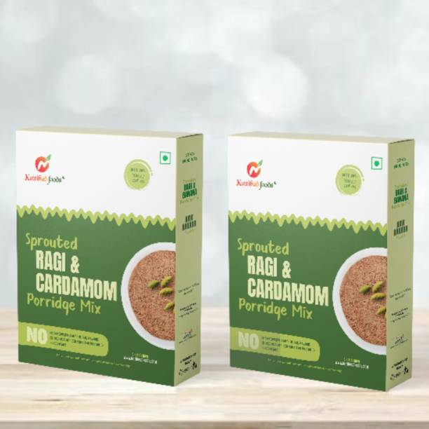 Nutribud Foods Sprouted Ragi and Cardamom Porridge Mix - No Preservatives/Additives/Added Sugar/Added Salt/Milk Solids, Gluten Free, Naachni Satva Baby Food (All Ages Above 6 Months+, 200 gm) Cereal