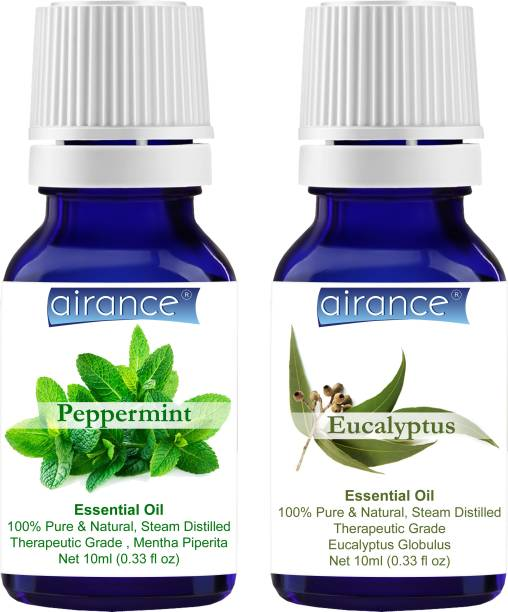 Airance Peppermint & Eucalyptus CERTIFIED ORGANIC Essential Oil, 100% Pure & Natural, Therapeutic Grade
