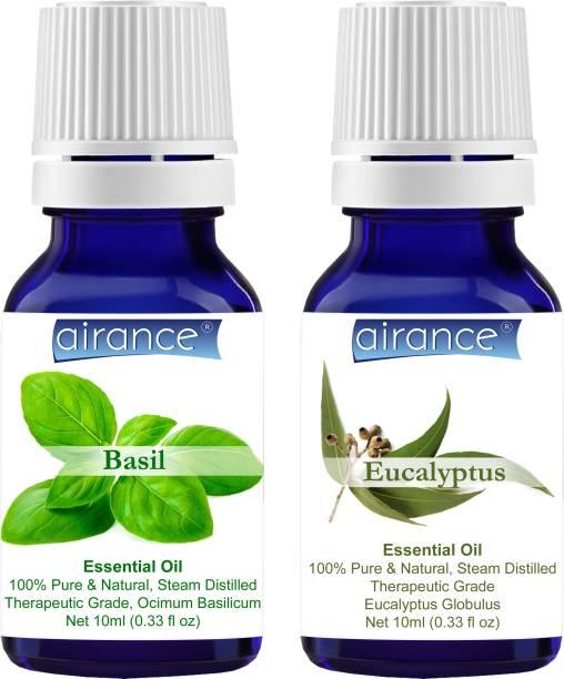 Airance Basil & Eucalyptus CERTIFIED ORGANIC Essential Oil, 100% Pure & Natural, Therapeutic Grade
