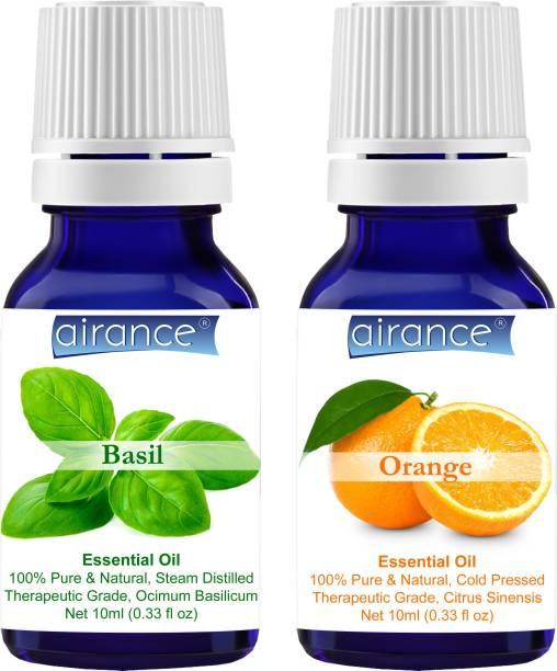 Airance Basil & Orange CERTIFIED ORGANIC Essential Oil, 100% Pure & Natural, Therapeutic Grade