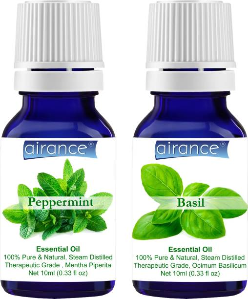 Airance Peppermint & Basil CERTIFIED ORGANIC Essential Oil, 100% Pure & Natural, Therapeutic Grade