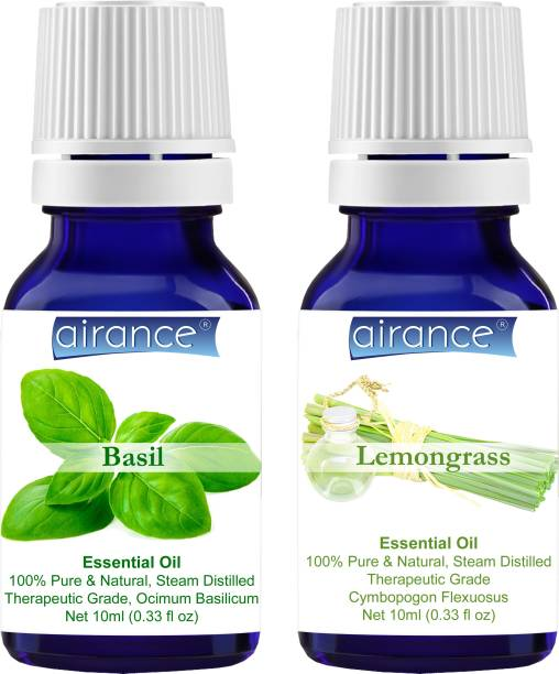 Airance Basil & Lemongrass CERTIFIED ORGANIC Essential Oil, 100% Pure & Natural, Therapeutic Grade