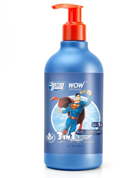 WOW SKIN SCIENCE Kids 3 in 1 Wash - Shampoo + Conditioner + Body Wash - Blue Guardian Superman Edition - No Parabens, Color, Mineral Oil, Silicones & Sulphate - 300mL