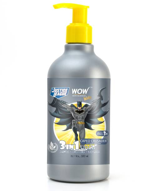 WOW SKIN SCIENCE Kids 3 in 1 Wash - Shampoo + Conditioner + Body Wash - Caped Crusader Batman Edition - No Parabens, Color, Mineral Oil, Silicones & Sulphate - 300mL