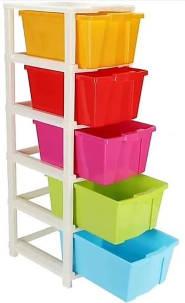 HUMBLE KART Plastic Free Standing Chest of 5 Drawers (Finish Color - Multicolor) Plastic Free Standing Chest of Drawers