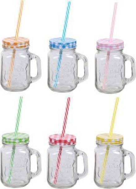 SK TRADING Glass Mason Jar with Straw and Handle, 500ml, 6-Piece (Transparent) Glass(500 ml) Glass Mason Jar