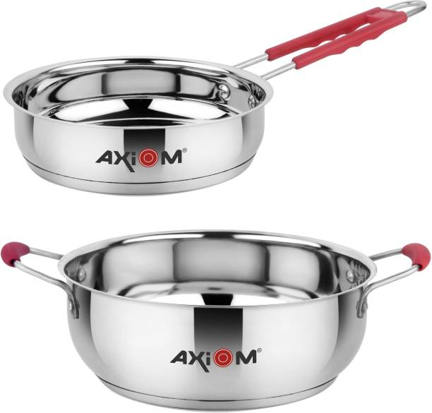 AXIOM Stainless Steel Set of 2 FRYPAN 1100 ml & KADHAI 2100 ml with Induction Encapsulated Bottom & Stay-Cool Extra Soft Silicone Handle Induction Bottom Cookware Set