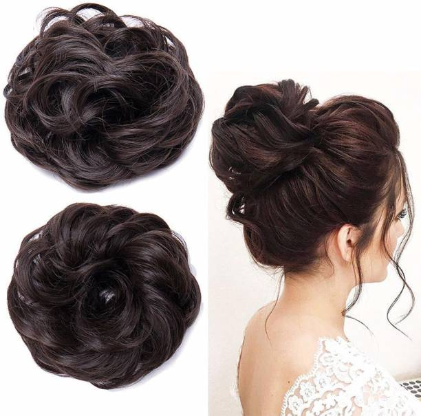 QKYPZO Set Of 2pcs Synthetic Bun Extension And Wigs Artificial Juda For Women And Girls, 35 Gram, Natural Brown Hair Extension